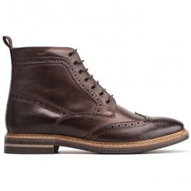 Mens Hurst Burnished Cocoa Leather Lace Up Brogue Boots