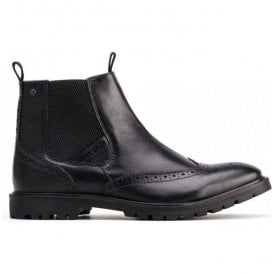 Mens Bosworth Waxy Black Leather Brogue Chelsea Boots
