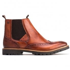 Mens Bosworth Washed Tan Leather Brogue Chelsea Boots