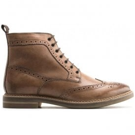Mens Hurst Burnished Tan Leather Lace Up Brogue Boots