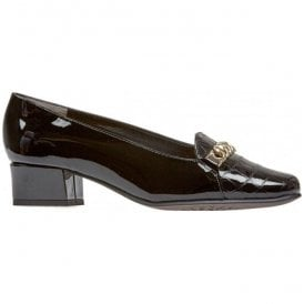 Womens Castile Black Patent/Croc Court Shoes 2604140