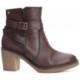 Womens Botin Brown Leather Ankle Boots 65828