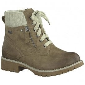 Womens Taupe Lace Up Ankle Boots 8-8-26212-29 341
