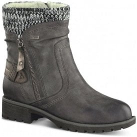Womens Graphite Knitted Collar Waterproof Ankle Boots 8-8-26420-29 206