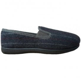 Mens King Twin Grey Stripe Fabric Slippers