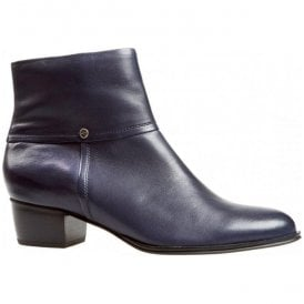 Womens Juliette Navy Leather Ankle Boots 2386420