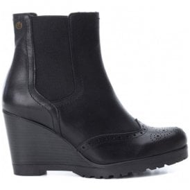 Womens Botin Black Leather Ankle Boots 65881