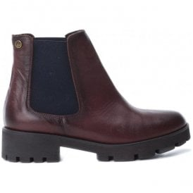 Womens Botin Burgundy Leather Ankle Boots 65849
