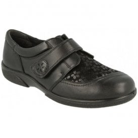 Womens Keswick Black Floral Leather Velcro Shoes 70552A 6E-8E (6V)
