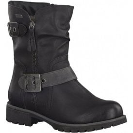 Womens Black Buckle Strap Waterproof Ankle Boots 8-8-26408-29 001