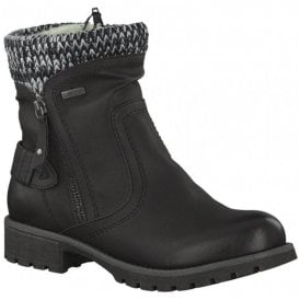 Womens Black Knitted Collar Waterproof Ankle Boots 8-8-26420-29 001