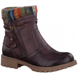 Womens Bordeaux Knitted Collar Ankle Boots 8-8-26420-29 549