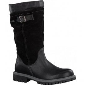 Womens Black Buckle Strap Waterproof Calf Boots 8-8-26605-39 001