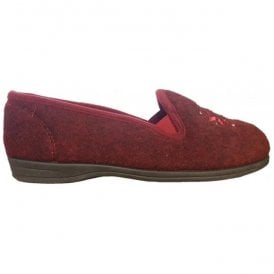 Womens Marsha Rose Burgundy Felt Slippers