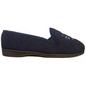 Womens Marsha Rose Navy Felt Slippers