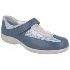 Womens Oxen Denim Blue Leather Extra Wide Velcro Shoes 78453Z EE-4E (2V)