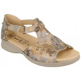 Womens Birch Sand Floral T-Bar Sandals 78530H EE-4E (2V)