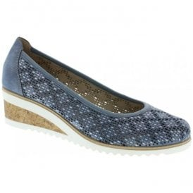 Womens Odense Navy Slip-On Shoes D5505-12