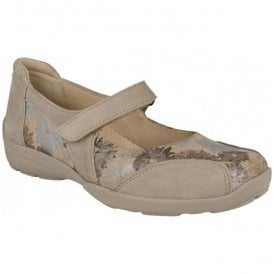 Womens Misty Beige/Floral Strap Over Shoes 78579H EE-4E (2V)
