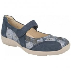 Womens Misty Navy/Floral Strap Over Shoes 78579N EE-4E (2V)
