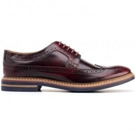 Mens Turner Hi Shine Bordo Derby Brogue Shoes