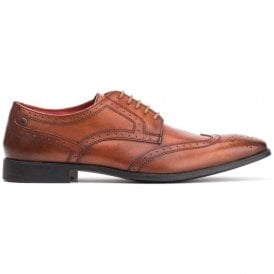 Mens Crown Tan Washed Leather Derby Brogue Shoes