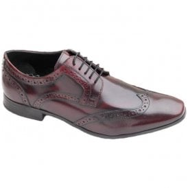 Mens Nolan Bordo Hi Shine Lace-Up Brogue Shoes