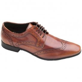 Mens Nolan Tan Hi Shine Lace-Up Brogue Shoes