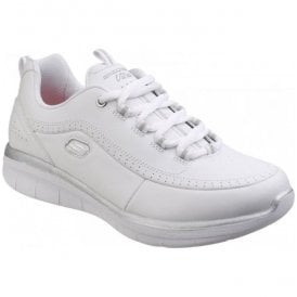 Womens White/Silver Synergy 2.0 Lace-Up Shoes SK12363