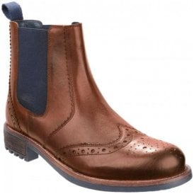 Mens Cirencester Tan Brogue Ankle Boots