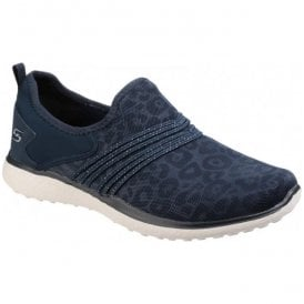 Womens Navy Microburst Under Wraps Slip On Walking Shoes SK23322