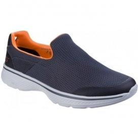 Mens Charcoal/Orange Go Walk 4 - Incredible Slip On Walking Shoes SK54152