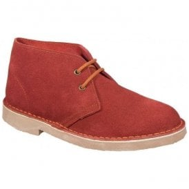 Womens Red 2 Eyelet Suede Desert Boots B467DS