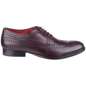 Mens Bailey Burgundy Grained Leather Derby Shoes