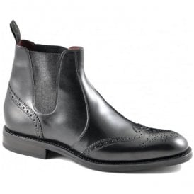 Mens Hoskins Black Leather Brogue Boots