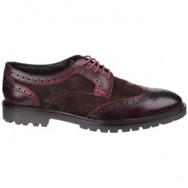 Mens Conflict Bordo/Brown Lace up Brogue Shoes