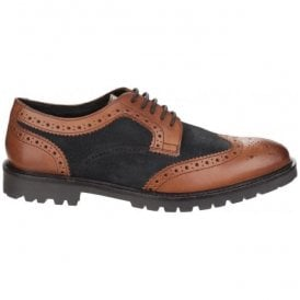 Mens Conflict Tan/Navy Lace up Brogue Shoes
