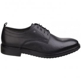 Mens Elba Black Waxy Derby Lace-Up Shoes