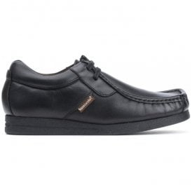 Mens Storm Waxy Black Leather Casual Shoes