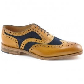 Mens Tarantula Tan Calf Leather/Navy Suede Oxford Brogue Shoes