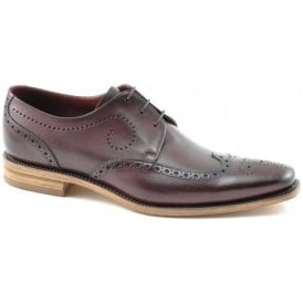 Mens Kruger Burgundy Calf Leather Punched Derby Brogue Shoes