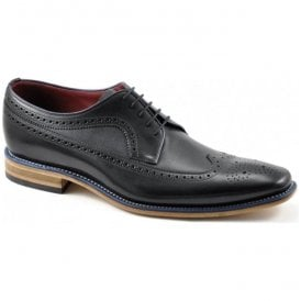 Mens Callaghan Black Calf Punched Derby Shoes