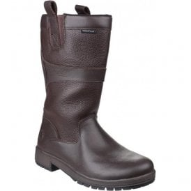Womens Ascot Brown Waterproof Pull on Wellington Boots