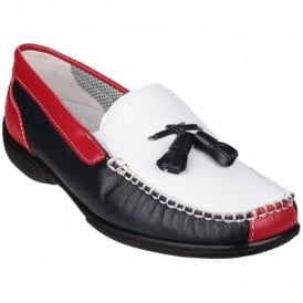 Womens Biddlestone White/Navy/Red Slip on Loafer Shoes