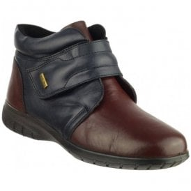 Womens Chalford Navy/Burgundy Velcro Ankle Boots
