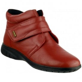 Womens Chalford Red Velcro Ankle Boots