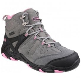 Womens Coberley Grey/Pink Waterproof Lace up Hiking Boots
