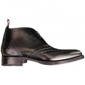 Mens Dexter Prado Black Leather Ankle Boots