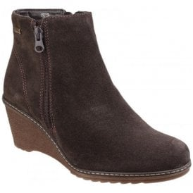 Womens Ford Brown Waterproof Zip up Ankle Boots