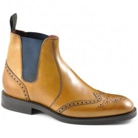 Mens Hoskins Tan Leather Brogue Boots